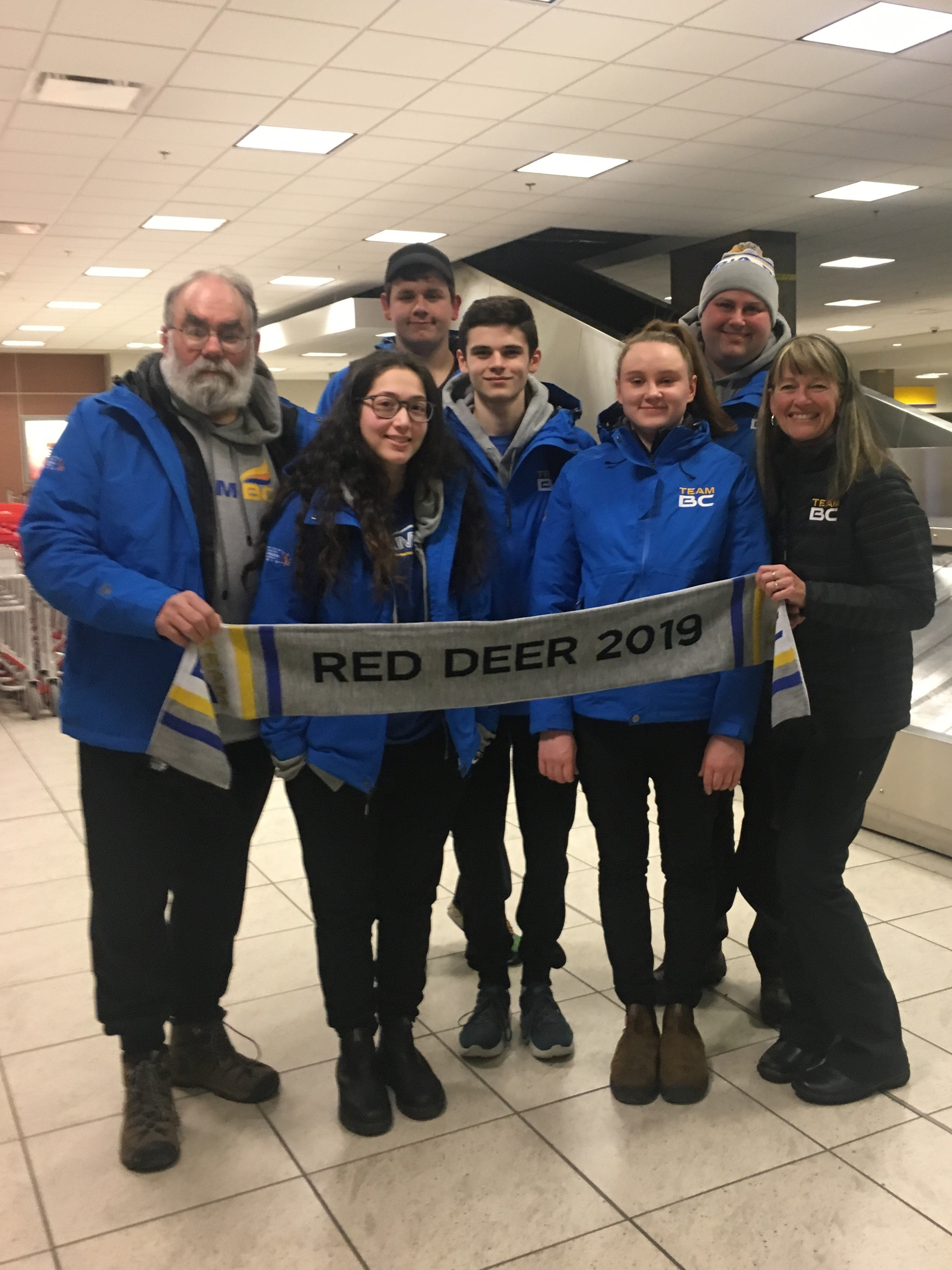 Canada Winter Games team at the airport